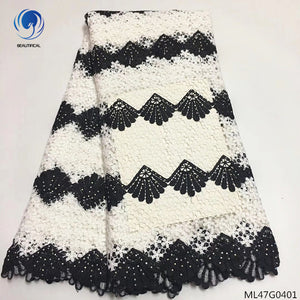 BEAUTIFICAL guipure lace fabric high quality water soluble laces fabrics african tulle lace dress with stones 5yards/lot ML47G04