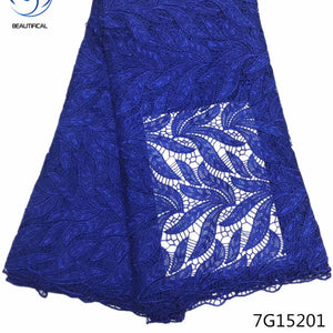 Beautifical african guipure lace fabric 2018 high quality lace  guipure cord lace fabric blue nigerian lace 5yards/piece 7G152