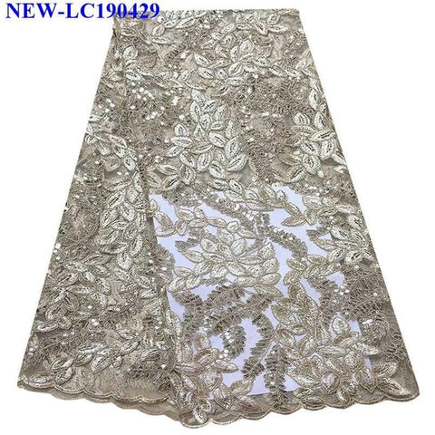 White Sequin African french tulle lace fabrics 5 yards 2019 Most popular Embroidery Tulle Lace Material For Party dress NHS05