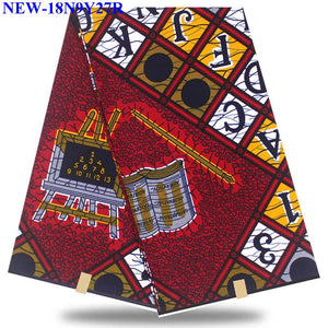 2019 Most popular african ankara veritable wax hollandais prints fabric 100% cotton 6 yards wax hollandais HHS11
