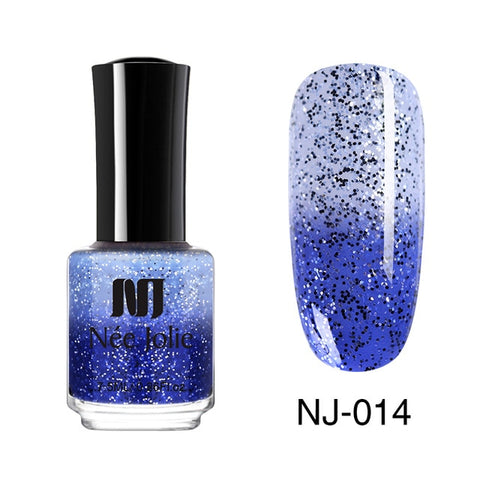 NEE JOLIE Thermal Nail Polish Glitter Sequins Temperature Color Changing Fast Dry Manicure Varnish 3.5ml Gradient Nail Lacquer
