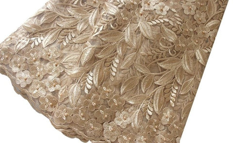 African Lace Fabric 2018 High Quality Lace Unique Beaded Nigeria Lace Fabric 100 Polyester Heavy Nigerian Fabrics