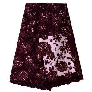 2018 Latest African Tulle French Lace Fabric Laser Cutting Jacquard High Quality Nigerian Wedding African Lace Fabric Burgundy