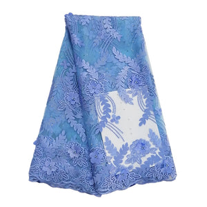 African Lace Fabric 2019 High Quality 3D Lace Powder Blue Color French Tulle Lace Fabrics With Beaded For African Parties
