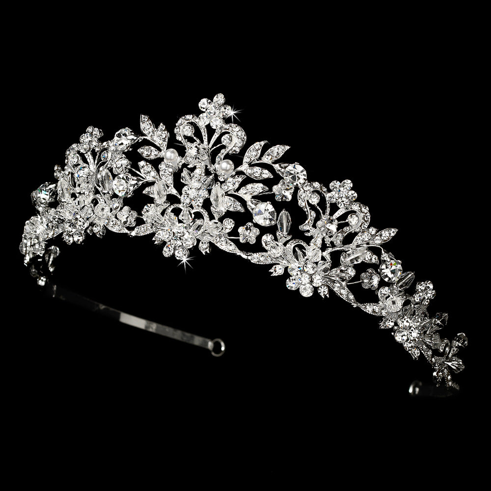 Swarovski Crystal and White Pearl Bridal Tiara HP 7102