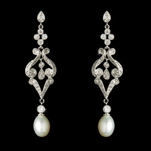 Vintage CZ & Diamond White Pearl Bridal Earring 2027