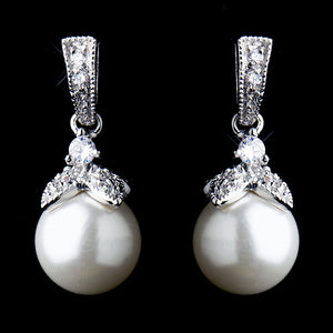 Silver CZ Crystal & Diamond White Pearl Dangle Drop Bridal Earrings 8675