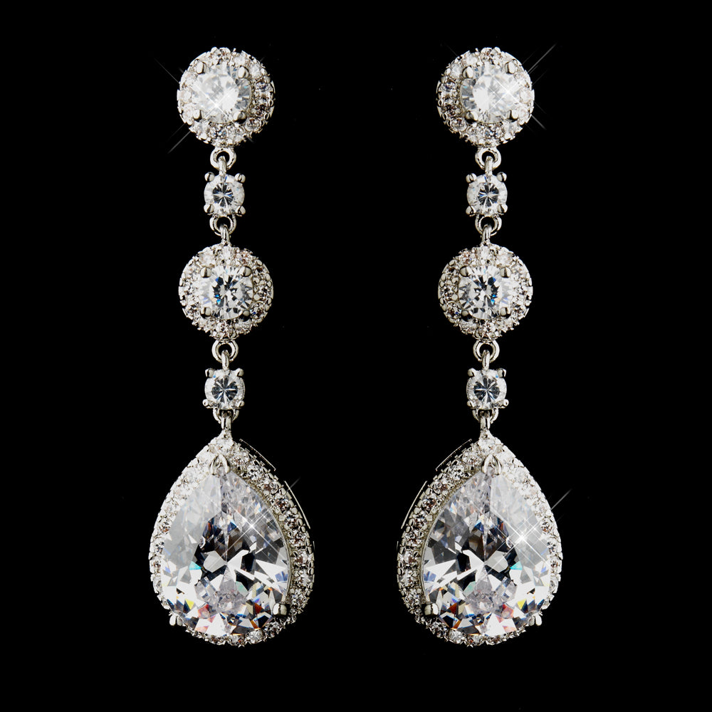 Silver CZ Dangle Tear Drop & Round Crystal Dangle Bridal Earrings 8676