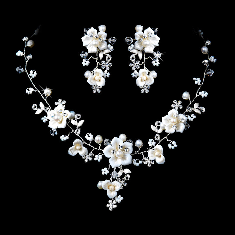 Beautiful Silver Crystal, Porcelain & Pearl Bridal Jewelry Set NE 1014 (Clip On)