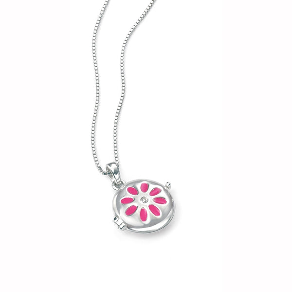 D for Diamond Flower Locket Childs Necklace