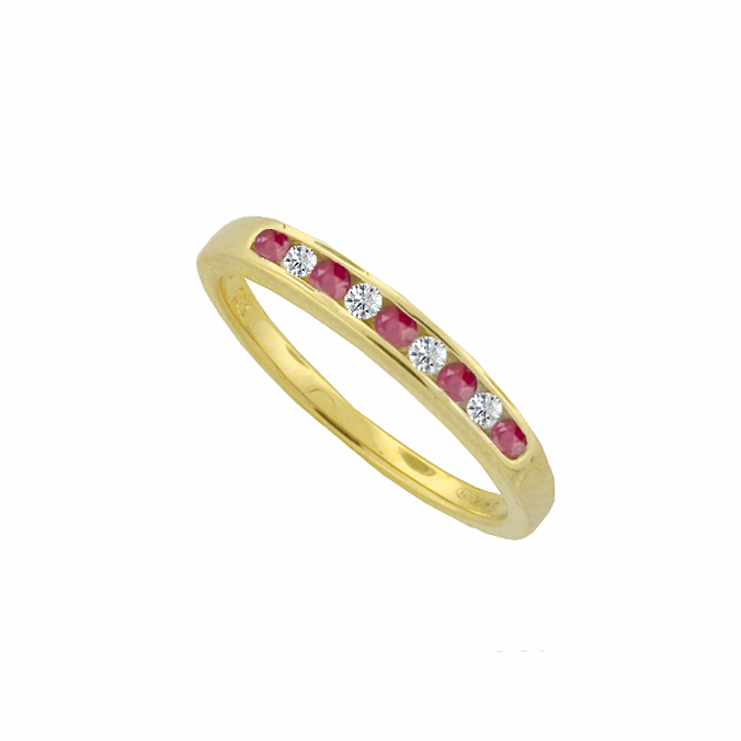Ruby & Diamond Channel Set Eternity Ring 9ct Gold