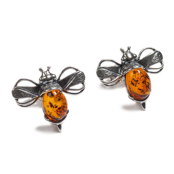 Henryka Bumble Bee Stud Earrings in Silver and Amber