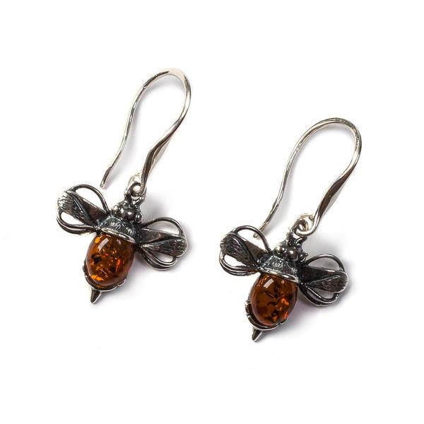 Henryka Bumble Bee Drop Earrings in Silver and Amber