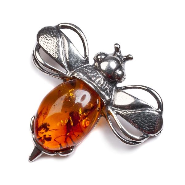Henryka Bumble Bee Brooch in Silver and Amber