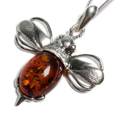 Henryka Large Bumble Bee Necklace in Silver and Amber