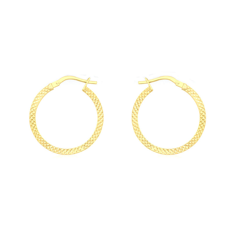 9ct Yellow Gold 20mm Cobra-Textured Creole Earrings