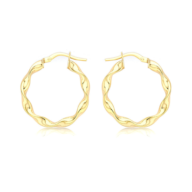 9ct Yellow Gold 22.5mm Twist Hoop Creole Earrings