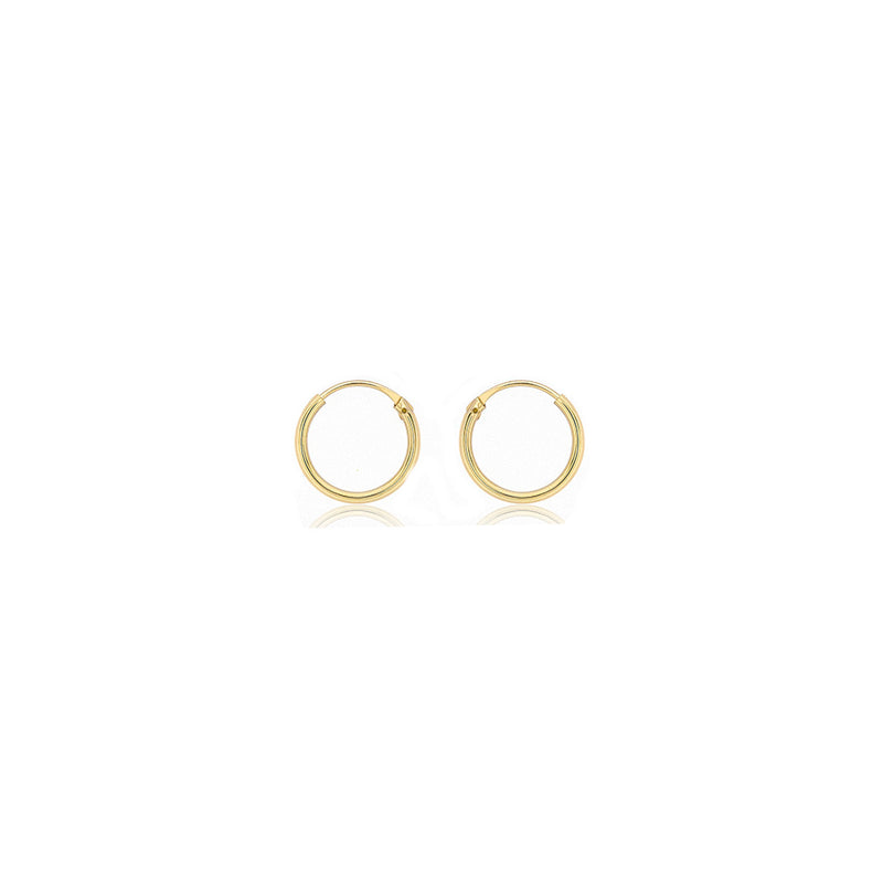 9ct Yellow Gold 1.2mm Plain 10.5mm Sleeper Hoop Earrings