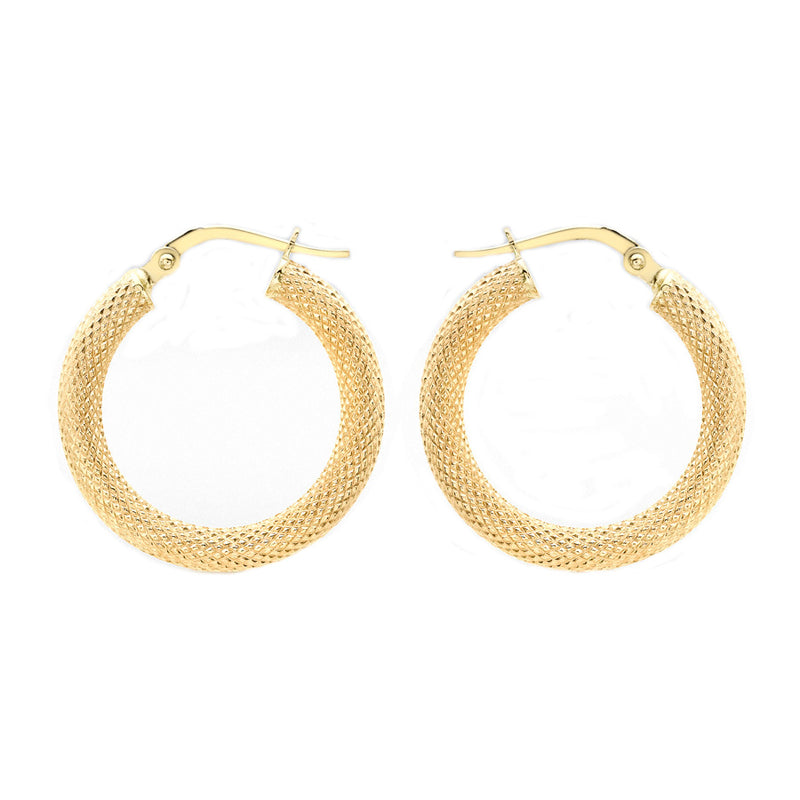 9ct Yellow Gold 3.1mm Tube 21mm Textured Creole Earrings