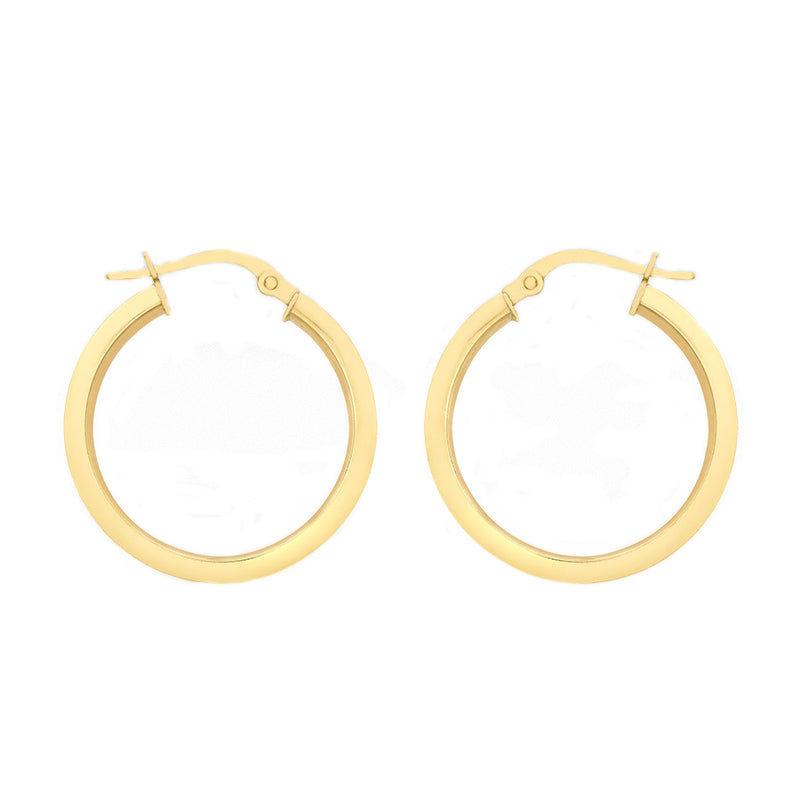 9ct Yellow Gold 22mm Square Tube Round Creole Earrings