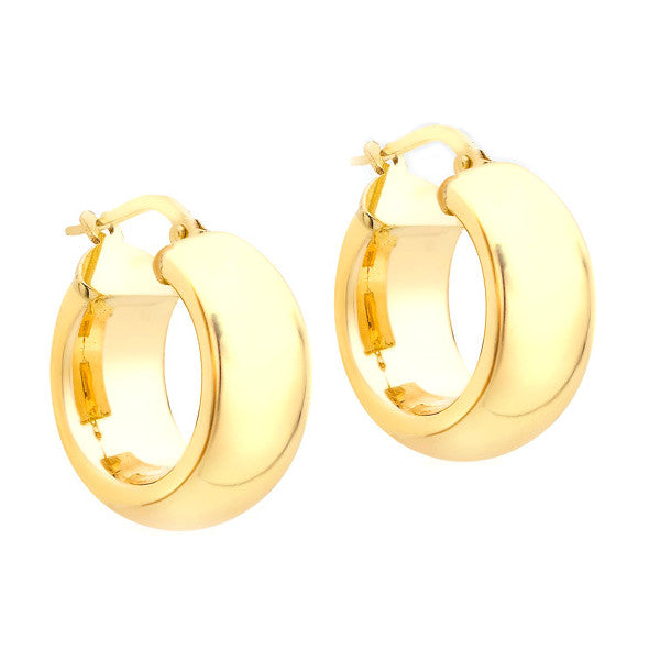 9ct Gold 18mm Polished Wide Creole Earring
