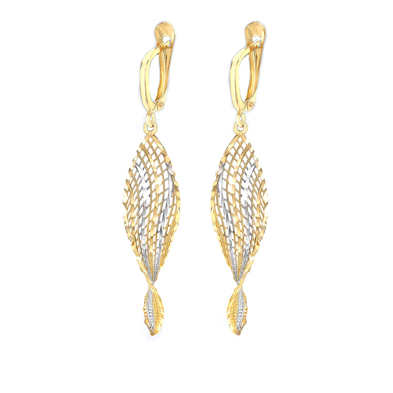 9ct 2-Tone Gold Striped Twist-Mesh Drop Earrings