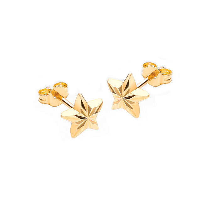 9ct Yellow Gold Star Stud Children's Earrings