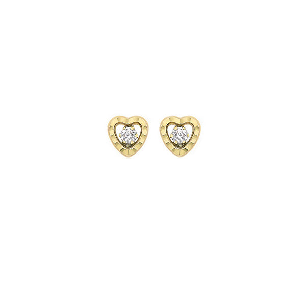 9ct Yellow Gold CZ 6.3mm x 6.3mm Diamond Cut Heart Stud Earrings