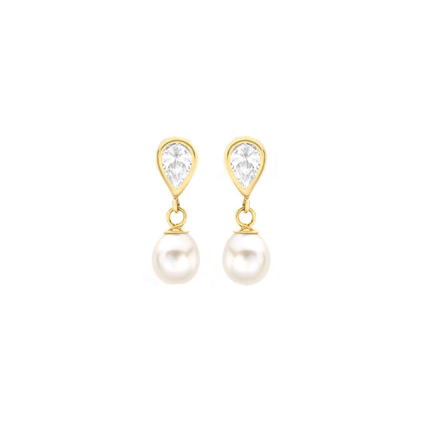 9ct Yellow Gold Pearl and CZ Teardrop Earrings
