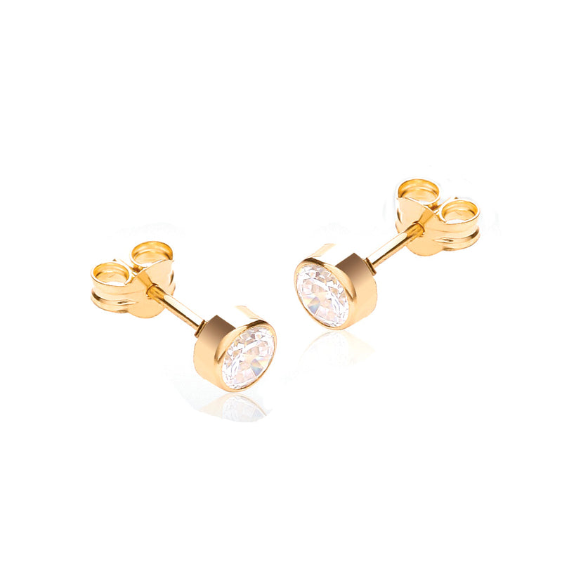 9ct Yellow Gold 4mm CZ Round Stud Rubover Earrings