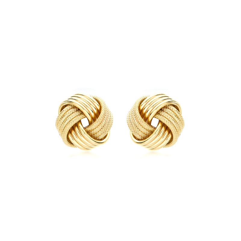 9ct Yellow Gold 11mm Knot Stud Earrings