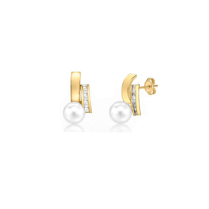 9ct Yellow Gold CZ Band Fresh Water Pearl Stud Earrings
