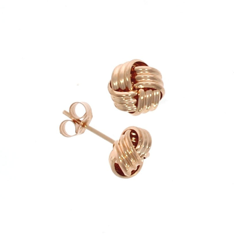 9ct Rose Ribbed Gold Knot Earrings