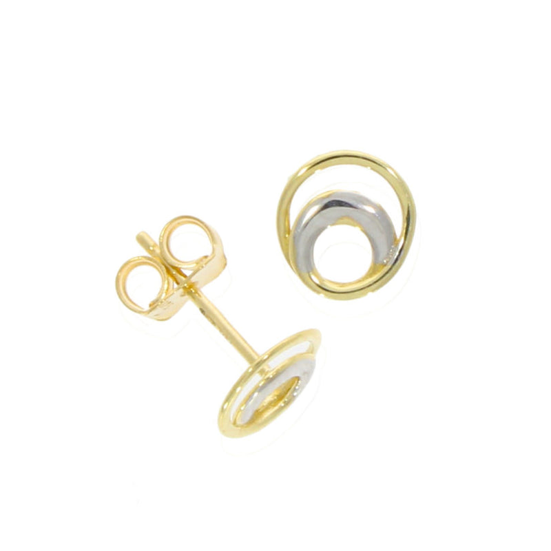 9ct Two Colour Gold Double Circle Stud Earrings