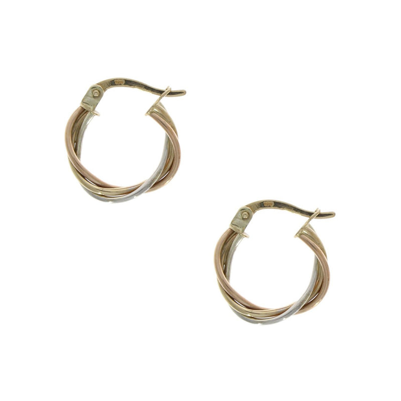 3 Colour Russian Twisted Hoop Earrings 9ct Gold