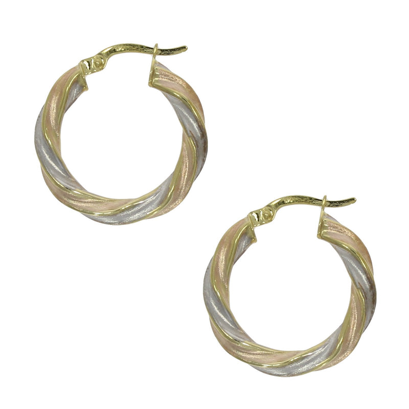 3 Colour Twisted Hoop Earrings 9ct Gold