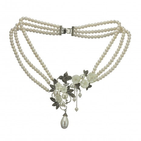 Triple Pearl Strand with Silver Flower Design PNN021