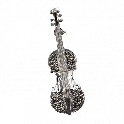 Violin Brooch Silver and Marcasite