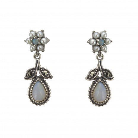 Silver Pearl & Opal Drop Earrings PME049OPAL