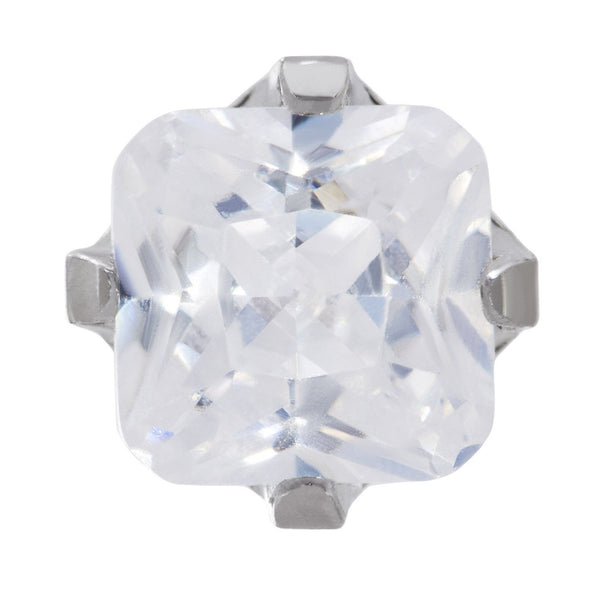9ct White Gold 5mm Square White CZ Stone Set Stud