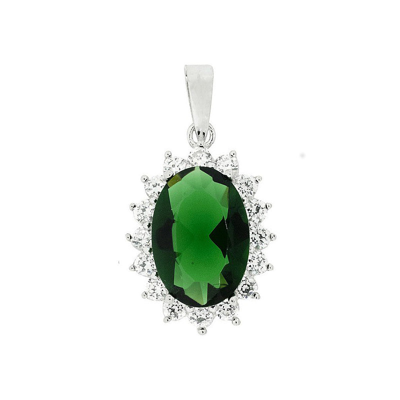 Sterling Silver Green & White CZ Cluster Pendant