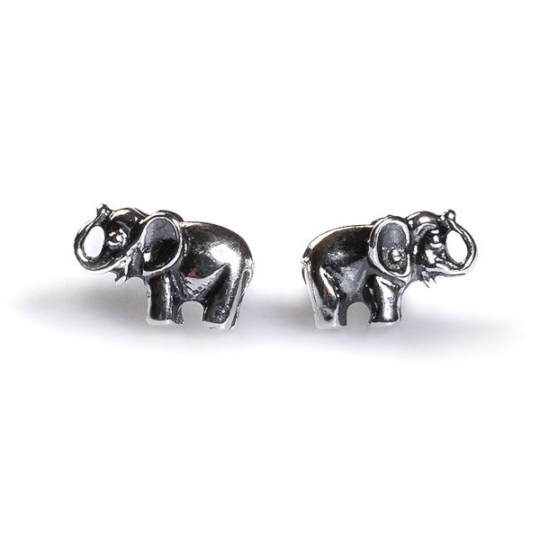 Henryka Miniature Elephant Stud Earrings in Silver