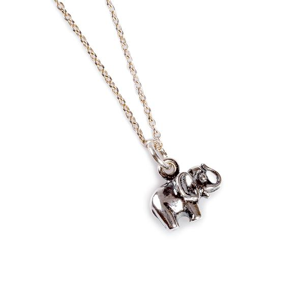 Henryka Miniature Elephant Necklace in Silver