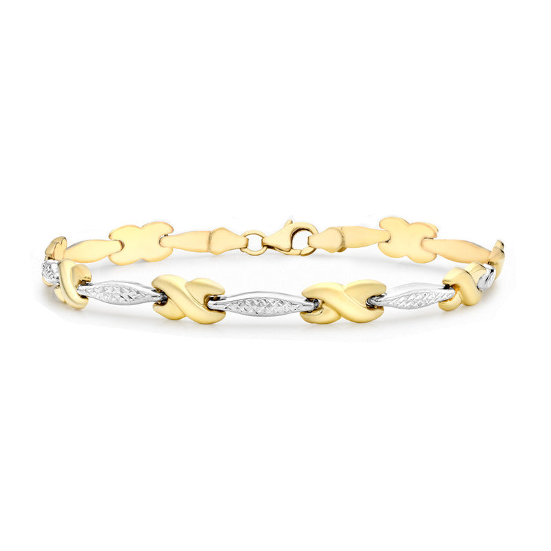 9ct 2-Colour Gold Diamond Cut 'Bar and Kiss' Link Bracelet