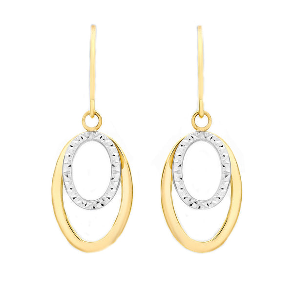 9ct 2-Colour Gold 12mm x 32mm Diamond Cut Double-Oval Drop Earrings