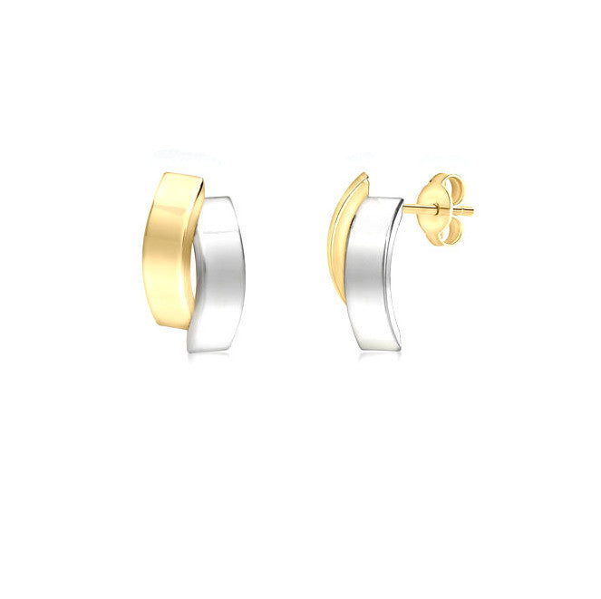 9ct 2-Tone Gold Double-Curved-Bars Stud Earrings