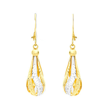 9ct 2 Colour Gold Diamond Cut Teardrop Earrings