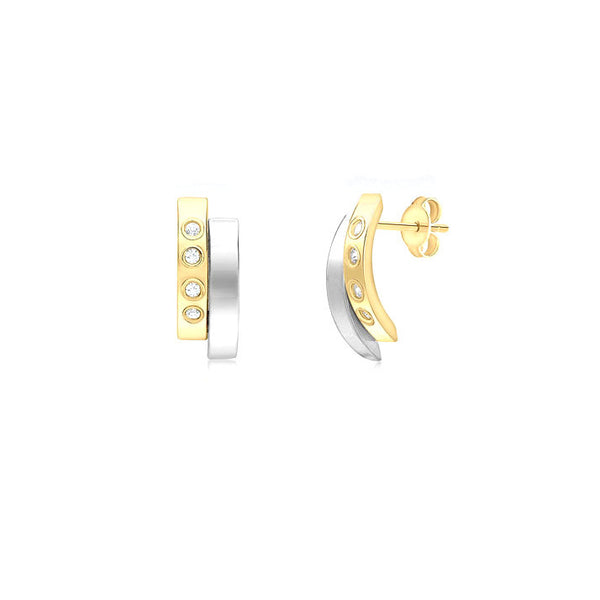 9ct 2 Tone Gold CZ Double Bars Stud Earrings