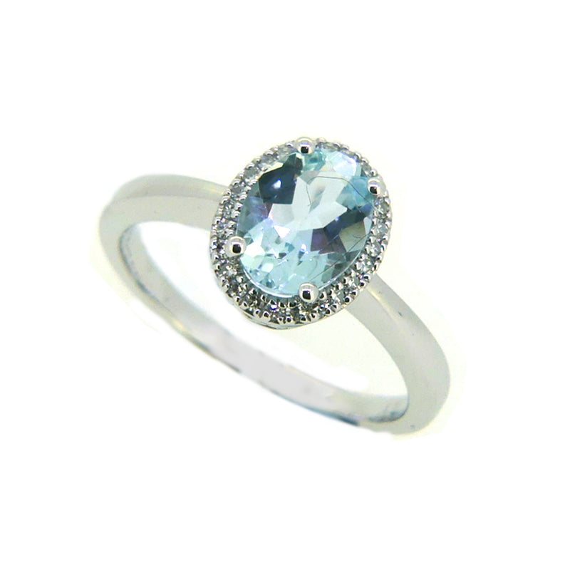 Aquamarine & Diamond Oval Cluster Ring 9ct White Gold