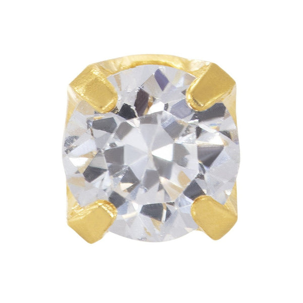 9ct Gold 2mm White CZ Stone Set Stud